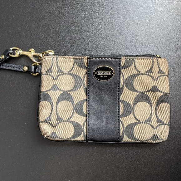 Coach Handbags - Coach PVC Leather Corner Zip Wristlet - Dark Brown